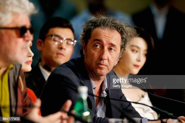 President of the jury Pedro Almodovar and jury members Paolo Sorrentino and Fan Bingbing attends the Jury press conference during the 70th annual...