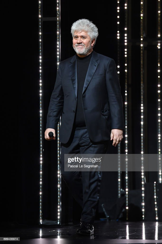 President of the jury Pedro Almodovar is seen on stage during the Closing Ceremony of the 70th annual Cannes Film Festival at Palais des Festivals on May 28, 2017 in Cannes, France.