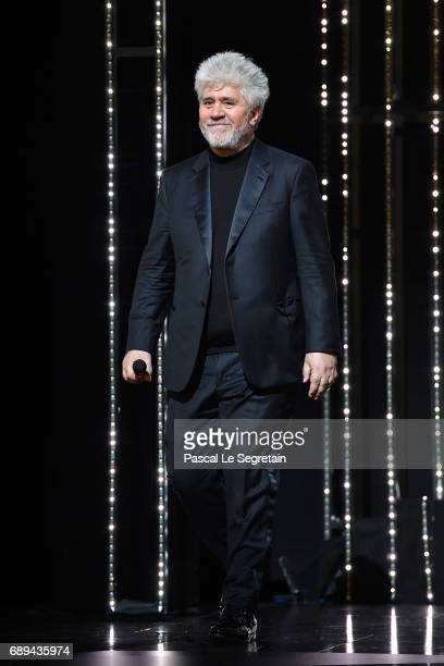 President of the jury Pedro Almodovar is seen on stage during the Closing Ceremony of the 70th annual Cannes Film Festival at Palais des Festivals on...