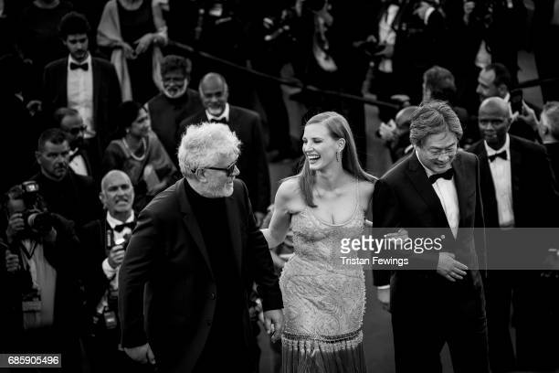President of the jury Pedro Almodovar jury members Jessica Chastain and Park Chanwook attend the 'Okja' screening during the 70th annual Cannes Film...
