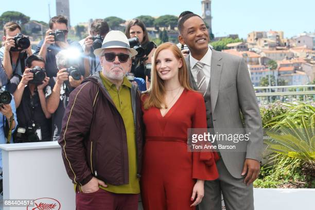President of the jury Pedro Almodovar members of the jury Jessica Chastain and Will Smith attend the Jury photocall during the 70th annual Cannes...
