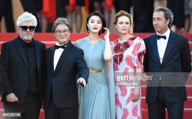 President of the jury Pedro Almodovar Park Chanwook Fan Bingbing Maren Ade and Paolo Sorrentino attends the 'Ismael's Ghosts ' screening and Opening...