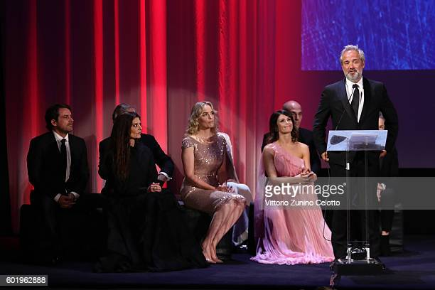 President of the jury Sam Mendes and jury members attend the closing ceremony of the 73rd Venice Film Festival at Sala Grande on September 10 2016 in...