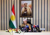 President of the Kurdish Regional Government Masoud Barzani speaks in Erbil Iraq on October 27 2015 during a meeting with the 69 hostages rescued...