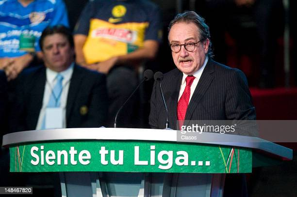 President of the League Decio de María speaks at the launch event of the New League MX and MX Ascent League of Mexican soccer on June 16 2012 in...