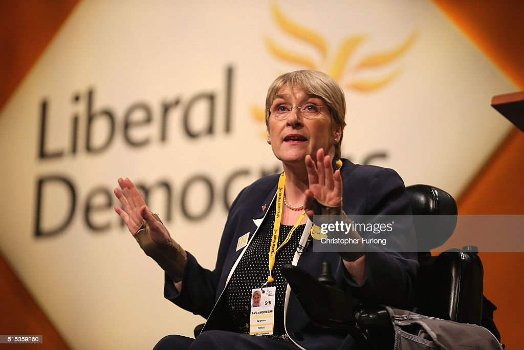 President of the Liberal Democrats, Sal Brinton addresses delegates during the Liberal Democrats spring conference at York Barbican on March 13, 2016 in York, England. On the last day of the Lib-dem Spring conference Farron claimed the UK is at an economic crossroads and accused Chancellor George Osborne of planning 'unnecessary ' cuts during next weeks budget.