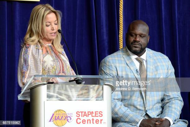 President of the Los Angeles Lakers Jeanie Buss gives a speech during the Los Angeles Lakers unveil Shaquille O'Neal statue event on March 24 2017 at...