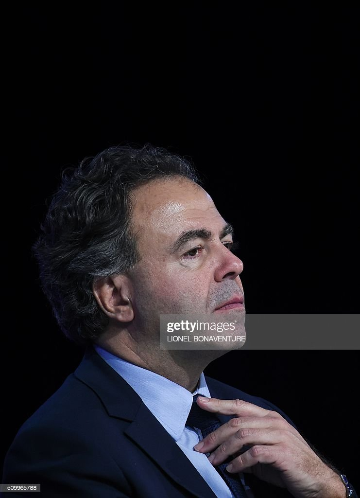 President of the LR National Consil Luc Chatel (R) looks on during the LR National Council on February 13, 2016 in Paris. AFP PHOTO / LIONEL BONAVENTURE / AFP / LIONEL BONAVENTURE