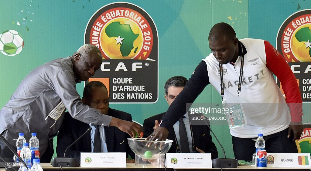 President of the Malian football federation Baba Diarra CAF's president Issa Hayatou CAF's secretary general Icham El Amrani and financial director...