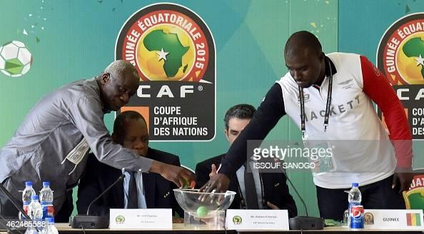 President of the Malian football federation Baba Diarra CAF's president Issa Hayatou CAF's secretary general Icham El Amrani and financial director...
