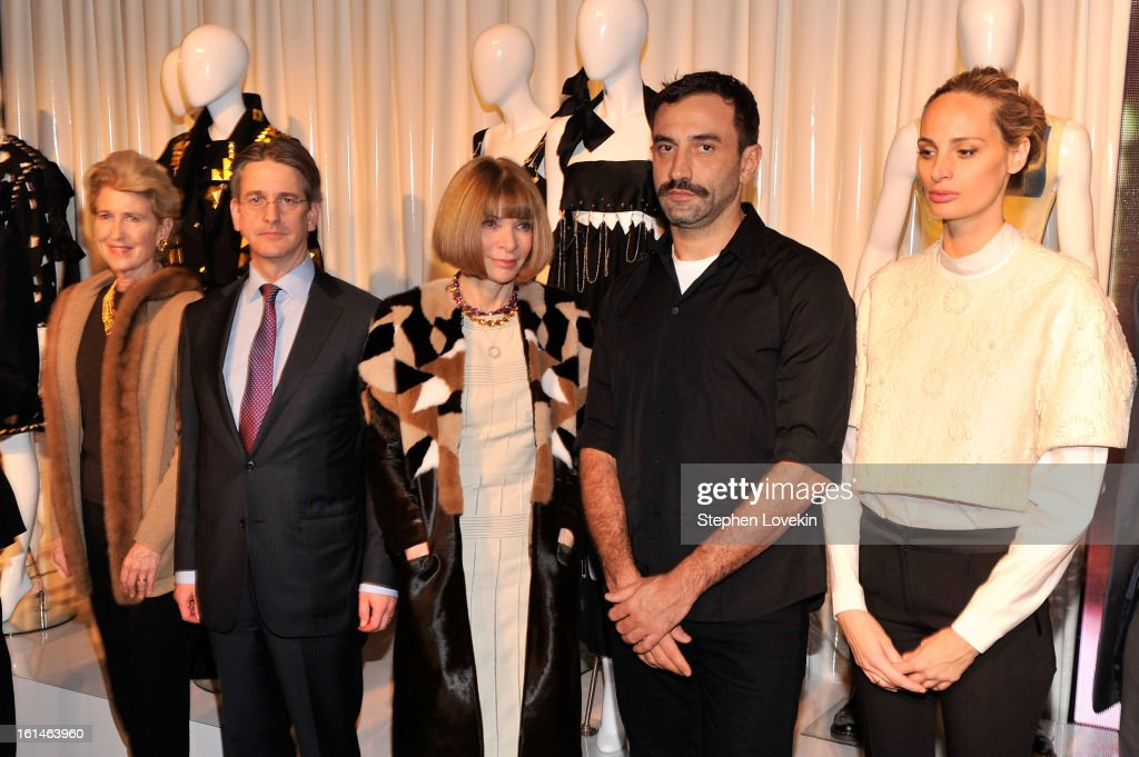 President of the Metropolitan Museum of Art Emily Rafferty, Director of the Metropolitan Museum of Art Tom Campbell, Editor of Vogue Anna Winter, designer Riccardo Tisci, and Lauren Santo Domingo attend the