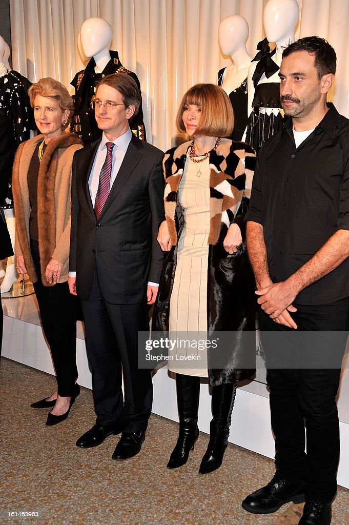 President of the Metropolitan Museum of Art Emily Rafferty, Director of the Metropolitan Museum of Art Tom Campbell, Editor of Vogue Anna Winter, and designer Riccardo Tisci attend the