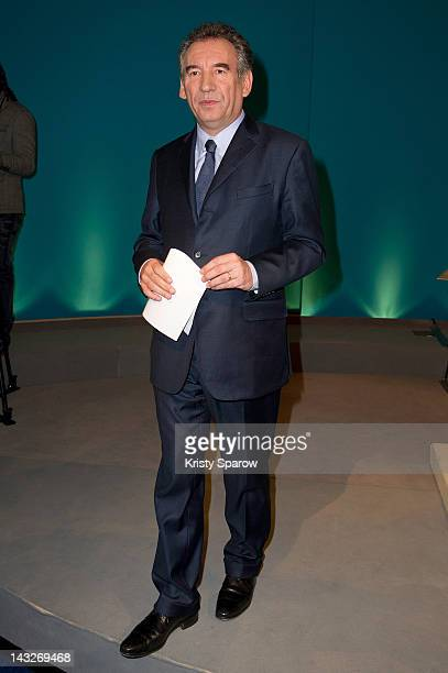 President of the MoDem centrist party and candidate for 2012 French presidential election Francois Bayrou speaks following the announcement of the...