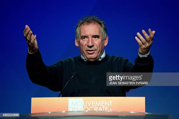 President of the MoDem centrist party Francois Bayrou delivers a speech during the opening of the party's summer congress on September 25 2015 in...