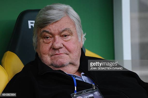 President of the Montpellier football club Louis Nicollin looks on during the French L1 football match between Nantes and Montpellier on August 30...