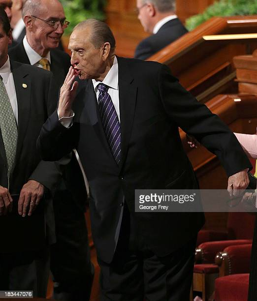 President of the Mormon Church Thomas Monson blows a kiss to the crowd after the fourth session of the 183rd SemiAnnual General Conference of the...