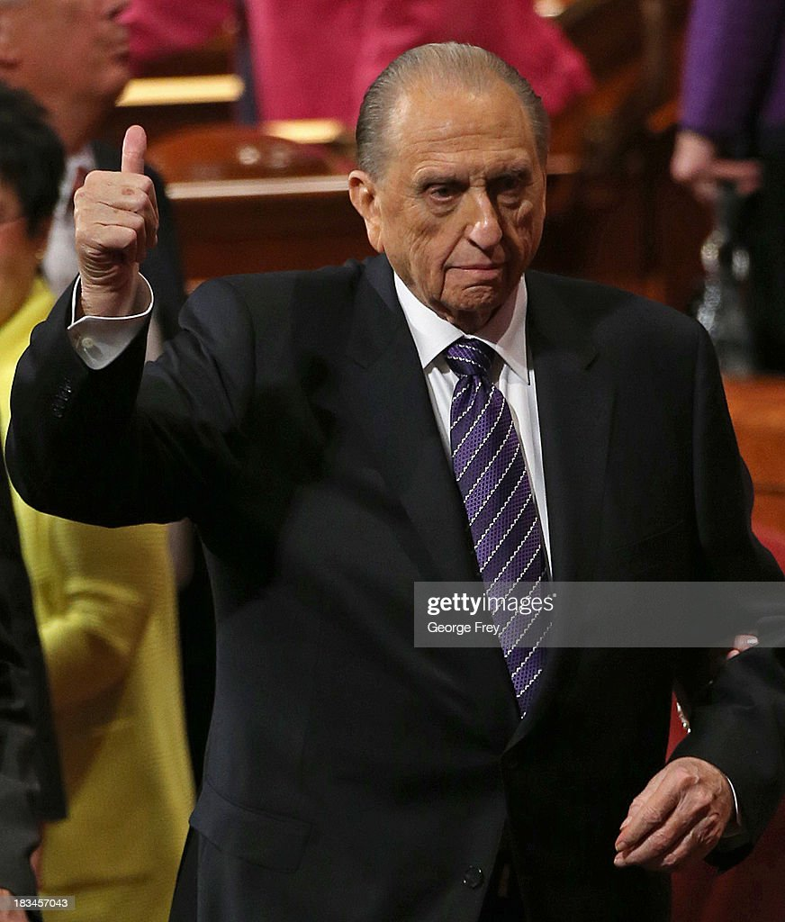 President of the Mormon church Thomas Monson gives a thumbs up to the crowd after the fourth session of the 183rd Semi-Annual General Conference of the Church of Jesus Christ of Latter-Day Saints at the Conference Center in on October 6, 2013 in Salt Lake City, Utah. According to reports the Mormon Church announced its membership is at 15 million.