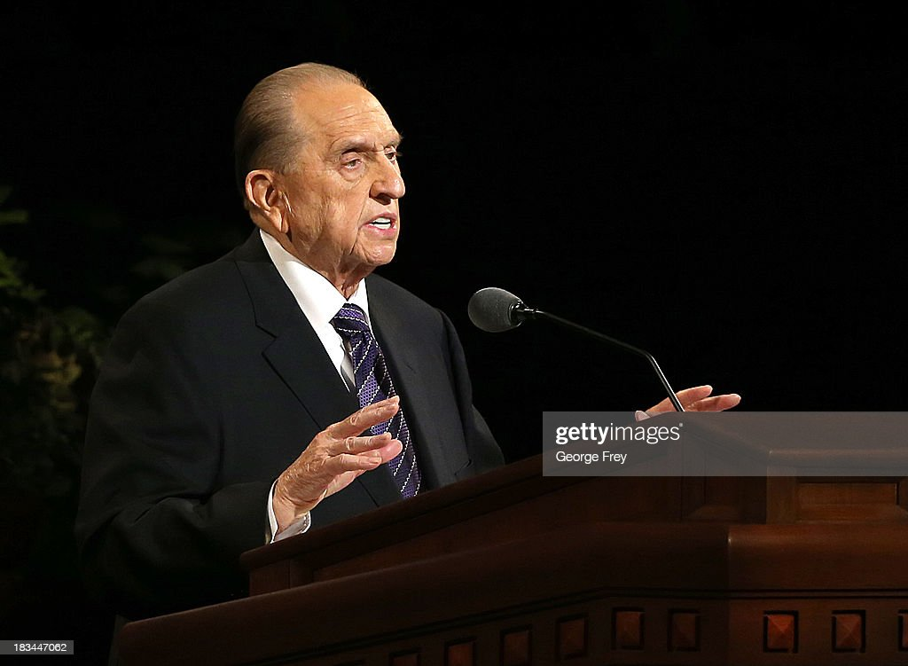 President of the Mormon Church Thomas Monson speaks at the fourth session of the 183rd Semi-Annual General Conference of the Church of Jesus Christ of Latter-Day Saints at the Conference Center in on October 6, 2013 in Salt Lake City, Utah. According to reports the Mormon Church announced its membership is at 15 million.