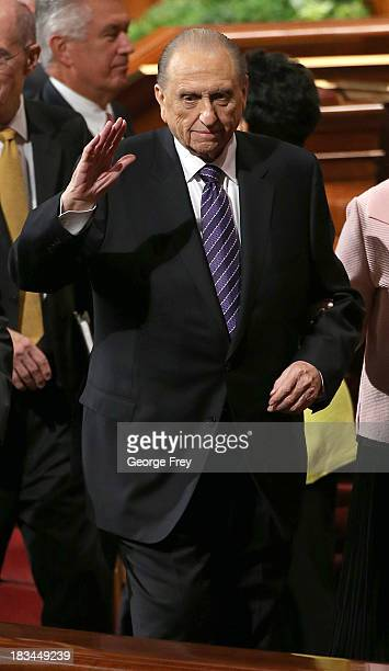 President of the Mormon church Thomas Monson waves to the crowd after the fourth session of the 183rd SemiAnnual General Conference of the Church of...