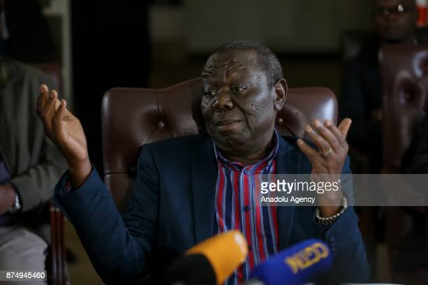 President of the Movement for Democratic Change and former Prime Minister of Zimbabwe Morgan Tsvangirai holds a press conference in Harare Zimbabwe...