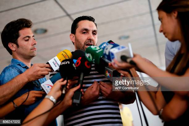 President of the muslim community of Ripoll Annour Ali Yassine talks to the press at the mosque of Ripoll on August 20 2017 Spanish police said on...