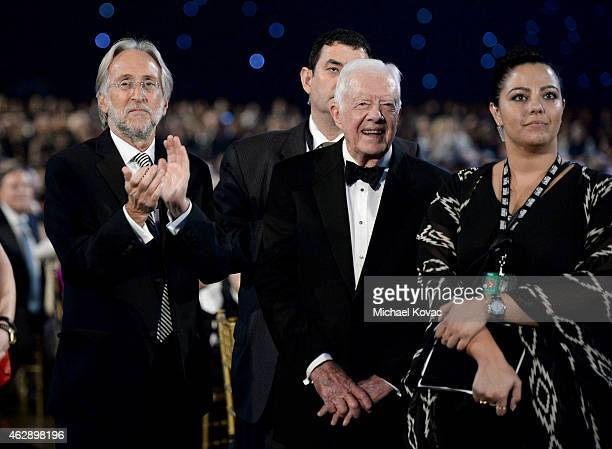 President of the National Academy of Recording Arts and Sciences Neil Portnow and Former US President Jimmy Carter attend the 25th anniversary...