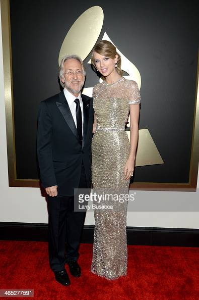 President of the National Academy of Recording Arts and Sciences Neil Portnow and recording artist Taylor Swift atten the 56th GRAMMY Awards at...