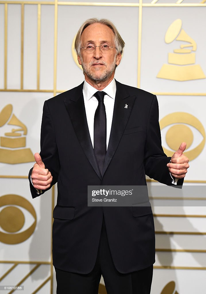 President of the National Academy of Recording Arts and Sciences Neil Portnow poses in the press room during The 58th GRAMMY Awards at Staples Center...
