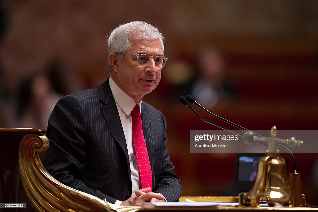 President of the National Assembly, Claude Bartolone, reacts during the weekly questions to the gouvernment at French National Assembly on May 04, 2016 in Paris, France.
