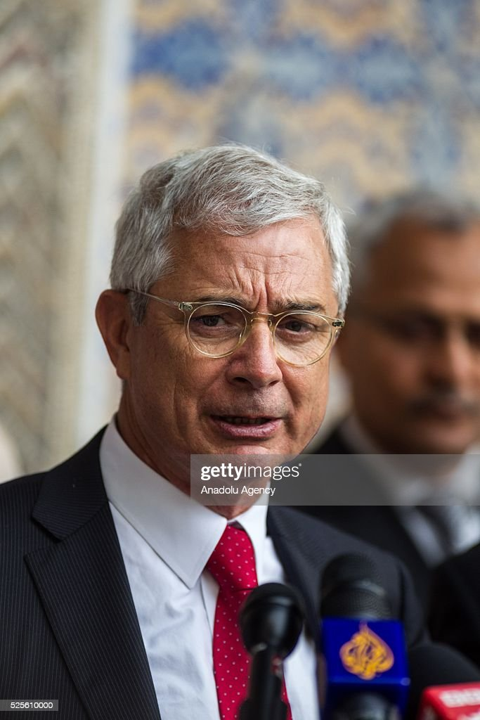 President of the National Assembly of France, Claude Bartolone delivers a speech during a joint press conference with Tunisian Parliament Speaker Mohammed Nasser (not seen) in Tunis, Tunisia on April 28, 2016.