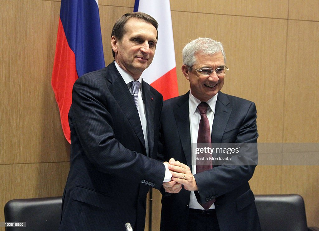President of the National Assembly of France Claude Bartolone (R) greets Russian State Duma Speaker Sergey Naryshkin during the meting in the National Assembly February 6, 2013 in Paris, France. Russian State Duma Delegation is on a 3-day visit to France.