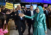 President of the National Council of Resistance of Iran Maryam Radjavi arrives to the National Council of Resistance of Iran annual meeting on July 9...