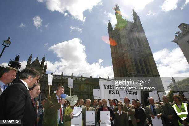President of the National Farmers Union of England and Wales Peter Kendall speaks to members of the National Farmers' Union outside the Houses of...