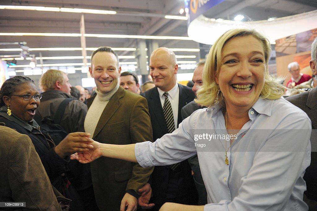 President of the National Front Party Marine Le Pen Visits Salon de l'Agriculture at Parc des Expositions Porte de Versailles on February 25 2011 in...