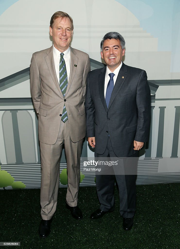 President of the National Park Foundation Will Shafroth (L) and Sen. Cory Gardner (R-CO) attend the Trust for the National Mall's Ninth Annual Benefit Luncheon in West Potomac Park on April 28, 2016 in Washington, DC.