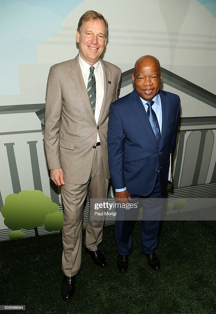 President of the National Park Foundation Will Shafroth (L) poses for a photo with Rep. John Lewis (D-GA) at the Trust for the National Mall's Ninth Annual Benefit Luncheon in West Potomac Park on April 28, 2016 in Washington, DC.