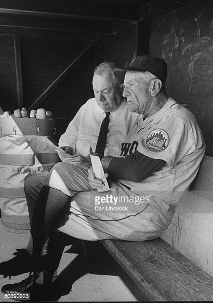 President of the New York Mets George Weiss and field manager Casey Stengel in the Met's dugout