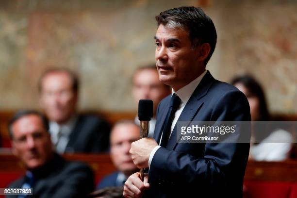 President of the 'nouvelle gauche' party's member of parliament Olivier Faure speaks during a session at the National Assembly in Paris on June 28...