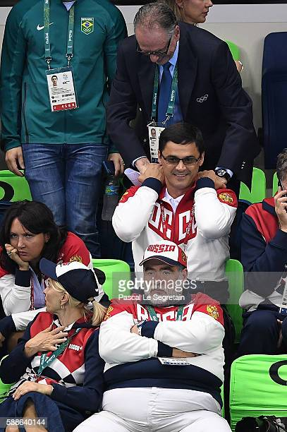 President of the Organizing Committee of the Rio 2016 Olympic and Paralympic Games Carlos Arthur Nuzman and former swimmer Alexander Popov of Russia...