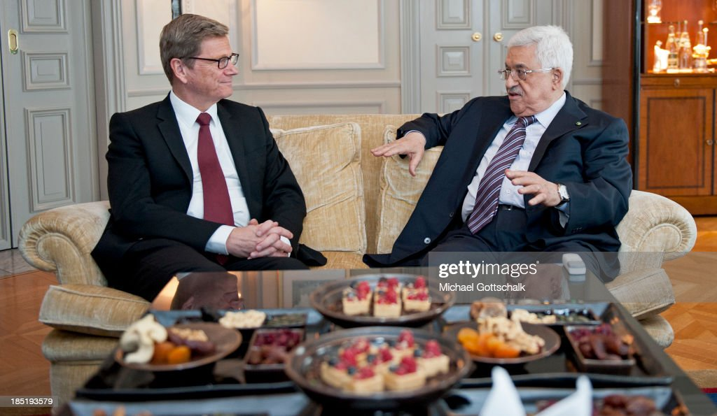 President of the Palestinian National Authority <a gi-track='captionPersonalityLinkClicked' href=/galleries/search?phrase=Mahmoud+Abbas&family=editorial&specificpeople=176534 ng-click='$event.stopPropagation()'>Mahmoud Abbas</a> (R) and German Foreign Minister <a gi-track='captionPersonalityLinkClicked' href=/galleries/search?phrase=Guido+Westerwelle&family=editorial&specificpeople=208748 ng-click='$event.stopPropagation()'>Guido Westerwelle</a> (FDP) meet for a bilateral talk on October 18, 2013 in Hotel Adlon in Berlin, Germany. Abbas is currently in Europe partly to lobby the European Union against providing Israel funds for housing expansion in occupied territories.