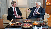 President of the Palestinian National Authority Mahmoud Abbas and German Foreign Minister Guido Westerwelle meet for a bilateral talk on October 18...