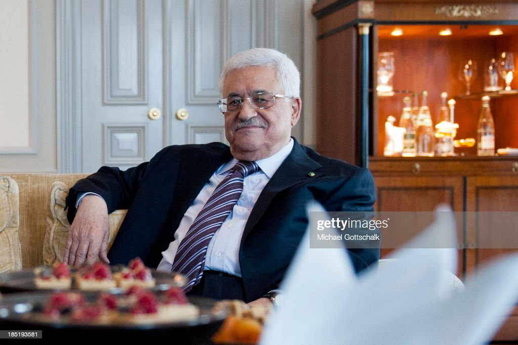 President of the Palestinian National Authority <a gi-track='captionPersonalityLinkClicked' href=/galleries/search?phrase=Mahmoud+Abbas&family=editorial&specificpeople=176534 ng-click='$event.stopPropagation()'>Mahmoud Abbas</a> during a bilateral Talk with German Foreign Minister Guido Westerwelle (FDP) on October 18, 2013 in Hotel Adlon in Berlin, Germany. Abbas is currently in Europe partly to lobby the European Union against providing Israel funds for housing expansion in occupied territories.