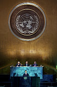President of the Peoples Republic of China Hu Jintao makes remarks at United Nations Secretary General Ban Kimoon's summit on climate change at...