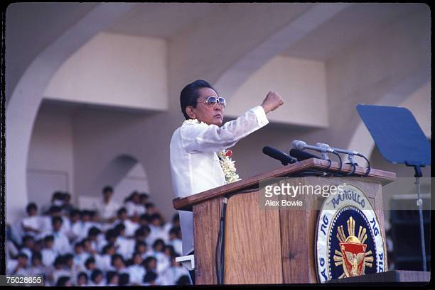 President of the Philippines Ferdinand Marcos gives a preelection campaign speech to supporters in the run up to the Philippine presidential...