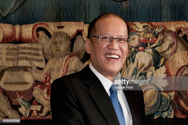 President of the PhilippinesÊBenigno S Aquino III attends an audience with Pope Francis at the Apostolic Palace on December 4 2015 in Vatican City...