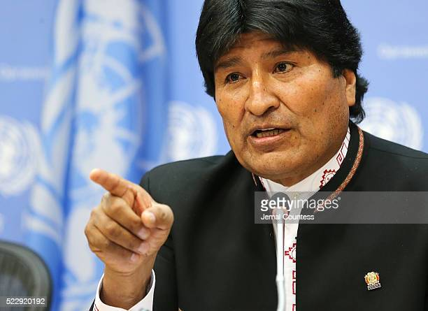 President of the PluriNational State of Bolivia Evo Morales Ayma speaks during a press conference at United Nations on April 21 2016 in New York City