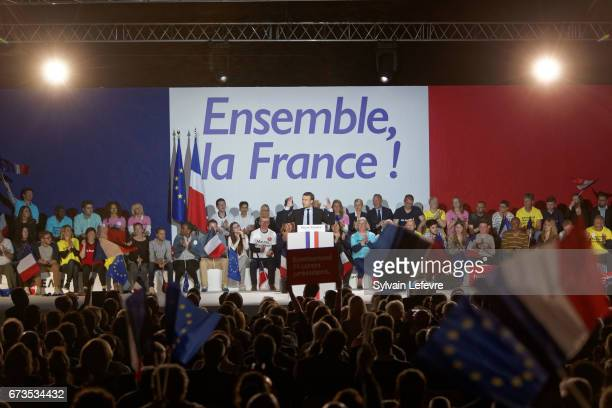 President of the political movement 'En Marche ' and french presidential election candidate Emmanuel Macron delivers a speech during a campaign rally...