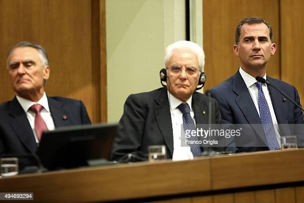 President of the Portuguese Republic Anibal Cavaco Silva Italian President Sergio Mattarella and King Felipe VI of Spain attend the 10th COTEC...