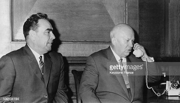 President Of The Presidium Of The Soviet Supreme Leonid Brezhnev And Ussrcp First Secretary Nikita Kroutchev At The End Of A Plenary Session Of The...