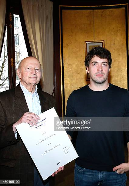 President of the 'Prix Louis Delluc' Gilles Jacob and 'Prix Louis Delluc for First Movie' award Director Thomas Cailley for the movie 'Les...